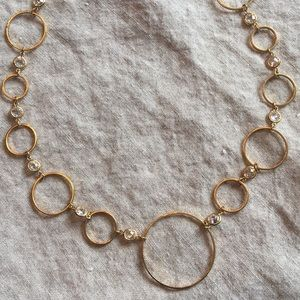 """16"""" gold colored circles and clear bead necklace"""